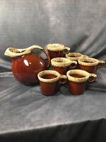 Set Of 6 Hull Brown Drip Glaze Pottery 10 Oz Coffee Mug Cup & Ice Lip Pitcher