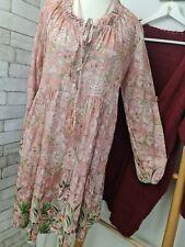 NEU Kleid Tunika ITALY duftig BUNT rosa-beige-grün 36 38 40 onesize