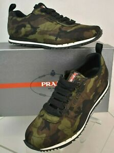 PRADA 4E3220 GREEN CAMOUFLAGE NYLON LETTERING LOGO LACE UP SNEAKERS 7.5 US 8.5