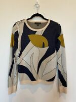 Ann Taylor Extra Fine Merino Wool Sweater Printed Long Sleeve Floral Medium EUC
