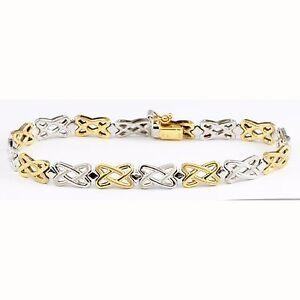 "Unisex 14k Two-Tone Gold White & Yellow X Pattern Tennis Bracelet 7.75"""