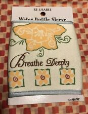 New Ganz Embroidered Water Bottle Sleeve Neoprene Breath Deeply Floral