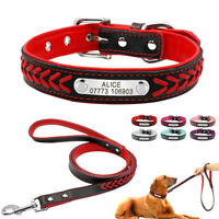 Braided PU Leather Dog Collar Lead Personalised Engraved ID Tags Custom for Pet