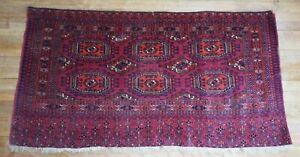 "Antique Turkoman Yamud Bag Face rug 29""x55"""