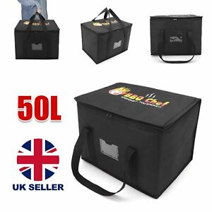 50L LARGE FOOD DELIVERY INSULATED BAGS PIZZA TAKEAWAY THERMAL WARM/COLD BAG RUCK