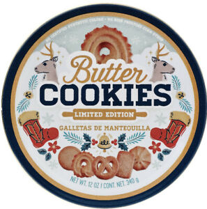 2 Butter Cookies Limited Edition Round Tin Factory Filled & Sealed New 12 Oz Ea