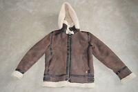 "Burberry Brown Sheepskin Leather Shearling Biker Jacket Unisex Small / UK 6 38"""