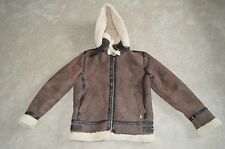 Burberry Brown Sheepskin Leather Shearling Biker Jacket Unisex Small / UK 6 38""