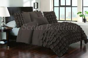 3 Piece Half Ruffle Duvet Cover 1000 TC 100% Egyptian Cotton Choose Size & Color