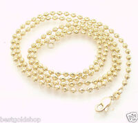 2.5mm Solid Half Moon Diamond Cut Bead Ball Chain Necklace REAL 14K Yellow Gold