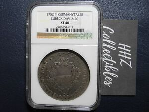 NGC Germany Lubeck State 1752 Taler Courantthaler Silver Coin XF40 #1