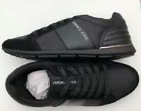 VERSACE JEANS Black Leather/Suede Stripe Logo Trainers Sizes UK 7 & 9 BNWT/BOX