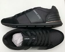 2ad8b69363c3 VERSACE JEANS Black Leather Suede Stripe Logo Trainers Size UK 6   7 BNWT