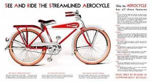 antique bicycle 1934 Schwinn AEROCYCLE CATALOG reprint POSTER 11x19 SIGN
