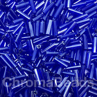 50g glass bugle beads - Deep Blue Transparent Lustered - approx 6mm tubes, craft