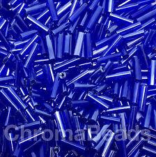 50g Glass Bugle Beads - Deep Blue Transparent - Approx 6mm Tubes Craft