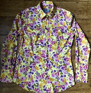 HAWES & CURTIS FITTED SHIRT UK 14 COTTON ELASTANE VIVID FLORAL YELLOW PINK VGC