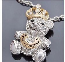 Lovely juicy couture pendant/silver/ diamond studded/ long chain /crowned bear.
