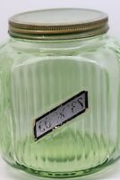 Vintage Green Dep. Vertical Ribbed Cookie Jar w/Orig Metal Lid & Cookie Label