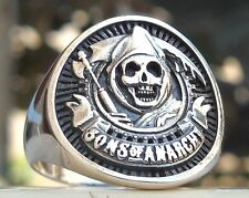 of Anarchy Reaper Biker Skull Ring Solid Sterling Silver 925 Heavy 3D Sons