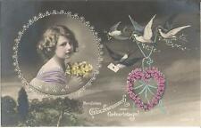 Geburtstag, Kind mit Blumen, Vogel, Schwalbe, Vergissmeinnicht, handcoloriert