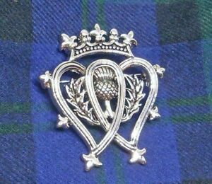 Scottish Luckenbooth Pewter Brooch Pin Thistle Design Shiny Finish Scotland