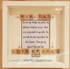 Handmade Personalised Scrabble Mum And Dad Frame Gift Birthday Anniversary