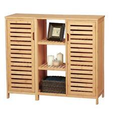VIAGDO® Badezimmerschrank Badschrank Bambus Küchenschrank Badezimmermöbel 2Türen