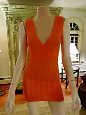 CACH'E  KNIT TOP  XS  ,ORANGE ,LONG, SHEER ,DIFFERENT STITCHES, SLEEVELESS, SEXY