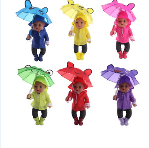 Clothes for Doll Baby Born 6Pcs Rain Set=Hat+T-Shirt+Coat+Pants+Shoes+Umbrella
