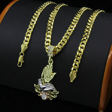 "Mens Gold Plated Hip-Hop Rose Prayer Hands Pendant 24"" Cuban Chain Necklace F63"