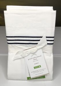 "Pottery Barn Grand Embroidered Standard Sham 26"" x 20"" Midnight Blue NEW $40"