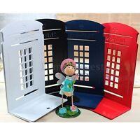 2 x London Telephone L-Shaped Anti-skid Bookends Metal Shelf Book Case Holder