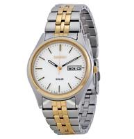 Seiko SNE032 Solar White Dial Two Tone Stainless Steel Bracelet Men's Watch
