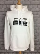 EA7 MENS WHITE OVERHEAD HOODED TOP HOODIE LARGE SILVER LOGO RRP £90 AD