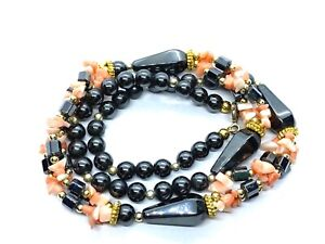 """Vintage Sterling Silver & Gold Plated Hematite Beads & Coral Beads Necklace 20"""""""