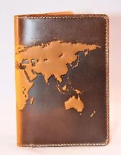 "Premium leather passport cover ""World Map 3D Print"" International 133*192 mm #1"