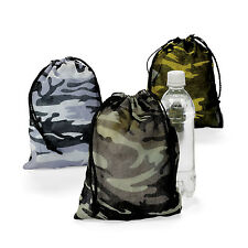 12 Camouflage Drawstring Loot Bags Totes Boys Army Military Birthday Party Favor