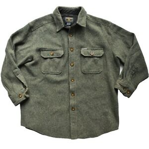 Woolrich Outdoor Heavy Wool Twill Button Up Overshirt Shacket Green Large