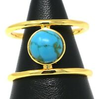 Vintage Antique Round Turquoise Ring Engagement Wedding Women 18K Gold Plated