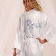 NEW VICTORIAS SECRET KIMONO WHITE SATIN WEDDING LINGERIE CRYSTAL BRIDE ROBE