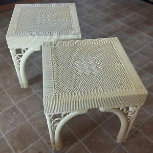 2 Vintage Burwood Cube End Tables Mid Century Bamboo Hollywood Regency