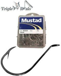 1 Box of Mustad 92554 Suicide Fishing Hooks - Double Strength Nickel Beak Hooks
