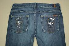 Seven 7 For All Mankind Straight Leg Jeans Women's Sz 28 Embellished Denim