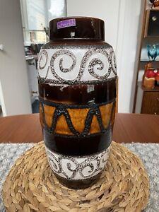 west german pottery Vase Vintage Retro Lava Glaze Tall Vase Home Display Canpost