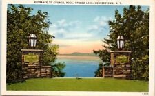 1940s Postcard New York Cooperstown NY Entrance to Council Rock Otsego Lake