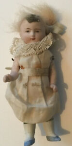 Antique Vintage Bisque Jointed Girl Doll German Mignonette 4 Inches #13
