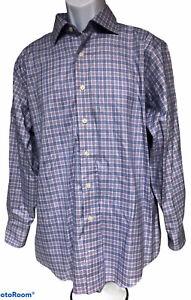 Mens Lorenzo Uomo The Perfect Fashion Shirt 161/2 32-33 Plaid Checked Purple LS