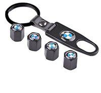 4 Ventilkappen BMW mit Anhänger, Metall, für Autoreifen, Schwarz, Performance