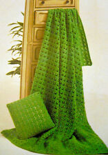 1607 VINTAGE CROCHET LACY AFGHAN THROW & CUSHION COPIED PAPER PATTERN